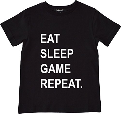 laylawson® Eat Sleep Game repeat T-Shirt Boys Novelty Tee Top Ages 2 To 12 Years