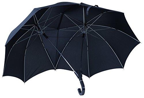 Regenschirm imLiebespaar Design - Schwarz ca. 120 cm Durchmesser - Doppelschirm als Geschenkidee - Grinscard