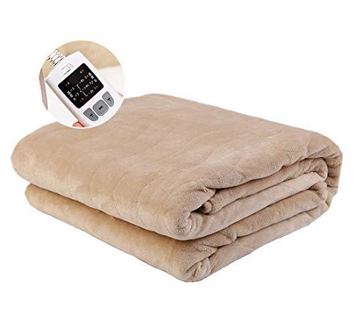 Authda Heizdecken für Bett mit Abschaltautomatik 180x200,4 TemperaturstufenWärmeunterbett Plüsch für 2 Personen für Doppelbett Fernbedienung Wärmekissen (180X150cm)