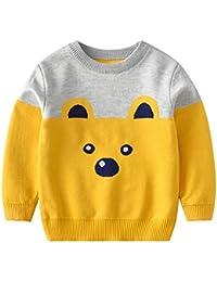 Weentop Kids Boys Cartoon Bear Knit Pullover Sweater Baby Cotton Manga Larga Cuello Redondo Espesar Sudadera (Color : Amarillo,…