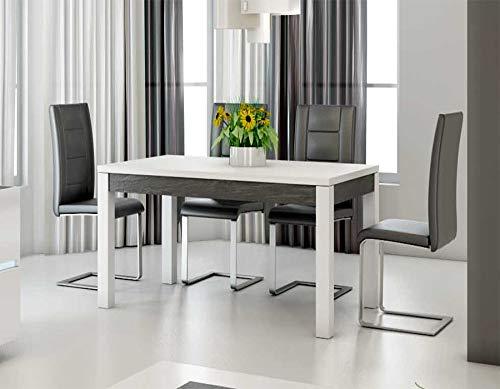 Kasalinea Table à Manger Blanc laqué et Ardoise Design Julia
