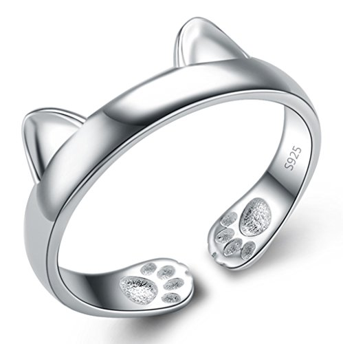 Unendlich U Fashion 925 Sterling Silber Rhodium Plated verstellbarer Ohren der Katze Damen Ring Größe 51 für Frauen/Mädchen