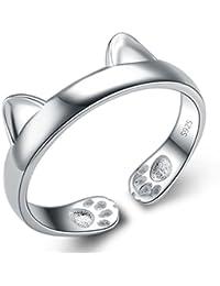 Infinite U La Oreja de gato de plata de ley 925tamaño anillo de banda ajustable J a O para regalo de cumpleaños/Día de San Valentín Regalo