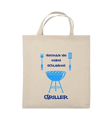 Comedy Bags - Vertraue nie einem schlanken Griller - Jutebeutel - kurze Henkel - 38x42cm - Farbe: Schwarz / Weiss-Neongrün Natural / Royalblau-Hellblau