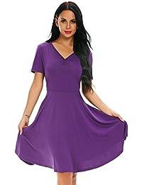 aa22bb703 Vestido Mujer para Cóctel con Cuello en V Casual Vestido de Manga Corta con  Dobladillo de