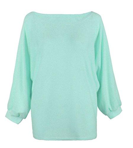ALAIX Donne girocollo oversize Batwing lavorato a maglia pullover superiore allentato maglione ponticello verde