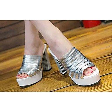 LvYuan Damen-Sandalen-Lässig-PU-Blockabsatz-Sandalen-Schwarz / Weiß / Silber Silver