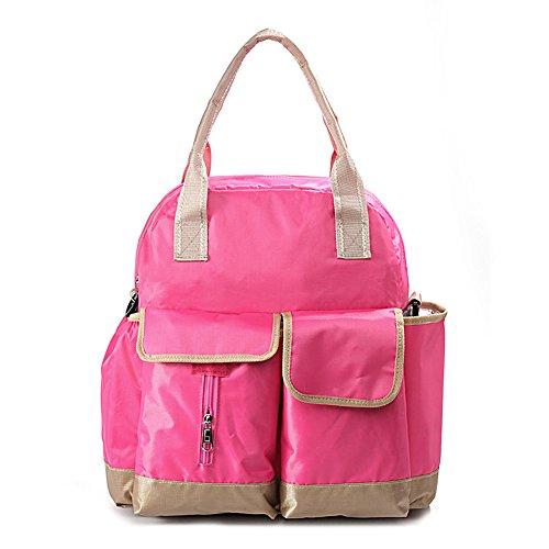 GSPStyle Damen Schultertasche 3tlg Babytasche Wickeltasche Mutter Windeltasche Nappy Changing Farbe Pink Pink