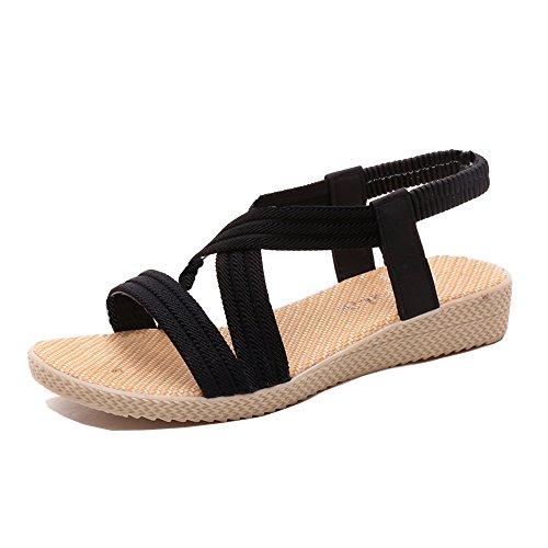 Sommer Strand Sandalen zum Damen Knöchel Gurt Flach Roman Schuhe Schwarz Blau Braun Rot Beige 35-41 Schwarz