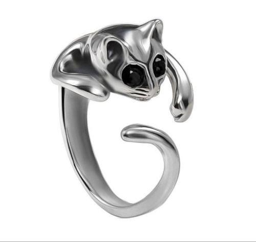 Interesting® Gatito lindo gato Animal cristal negro ojos anillo baño de plata hermosa