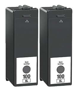 LEXMARK No.100XL 2 NEUF 100XL-Compatible Noir Cartouche d'encre pour imprimante LEXMARK S305 (S405 S505 S605 S815 S816/Pro205 Pro2705 Pro805 Pro905 Pro901 Series modèles Par BVH Direct