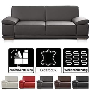CAVADORE 2,5-Sitzer Sofa Corianne / Kleine Echtleder-Couch