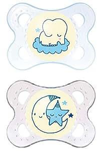 """MAM 523311 - Ciuccio """"Night"""" in silicone per bambini da 0 a 6 mesi, senza BPA, confezione doppia, colore: Blu"""