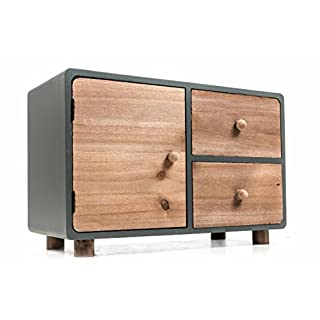 Mini-Kommode aus Holz, 2 Schubladen, 1 Klappe, freistehend, moderne Landhaus-Serie in natur/grau, Größe ca. 34 x 15 x 22 cm