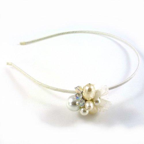 rougecaramel - Serre tête/headband joli motif perle - ivoire