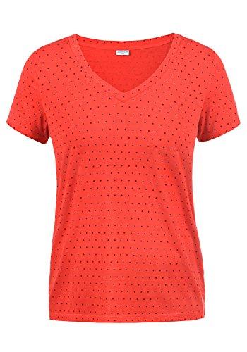 ONLY Leonie Damen T-Shirt Kurzarm Shirt Mit V-Ausschnitt, Größe:L, Farbe:High Risk Red/Dots Sky Captain