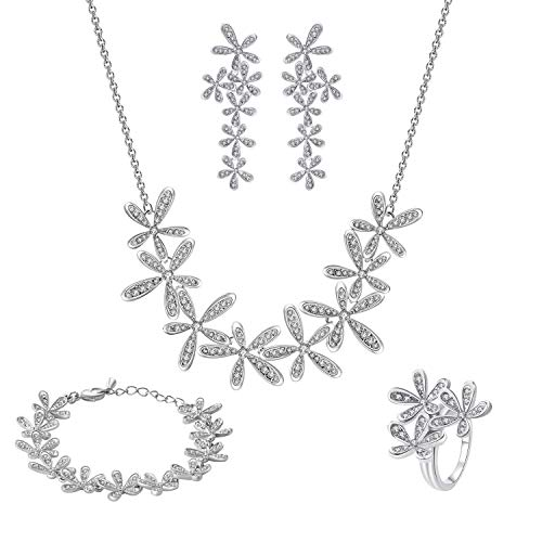 CHANGEABLE Damen Schmuckset mit Swarovski Kristall 18K Gold Set Frühling Blume Kette Länge 40+5CM Armband 17+4CM Ohrring Ringgröße 56(17.8)