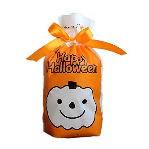 MAOYYM2 50 Halloween Candy Bag Kordel Tasche Fu Tasche Kleines Geschenk Paket Tasche Lächeln Kürbis Cookie Bag