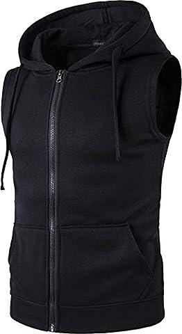 Sportides Hommes Casual Fashion Vest Hoodie Sans Manches Sweatshirt Shirt Top MFN_JZA001 Black M