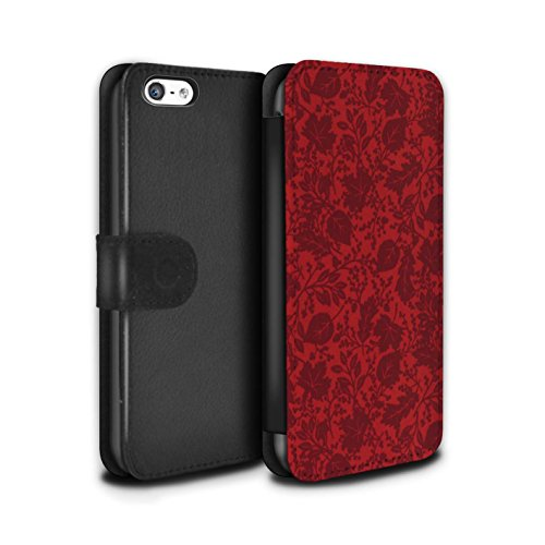 Stuff4 Coque/Etui/Housse Cuir PU Case/Cover pour Apple iPhone 5C / Pack 7pcs Design / Motif Feuille/Silhouette Collection Rouge