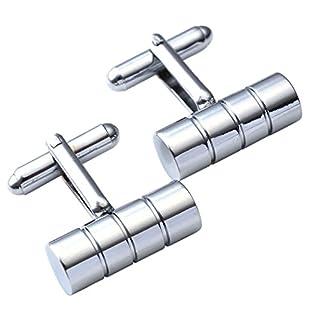 piercingj 2Manschettenknöpfe aus Edelstahl, klassisch, Silvery Cylinder