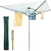 Secador de aire resistente de 4 brazos, de FiNeWaY@, 45 m de línea, para jardín, giratorio, con funda