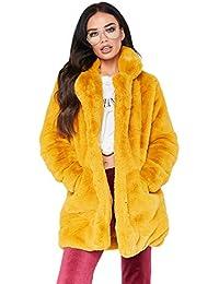 wholesale dealer 95bbe 4227f Amazon.it: pelliccia ecologica donna - Giallo / Cappotti ...