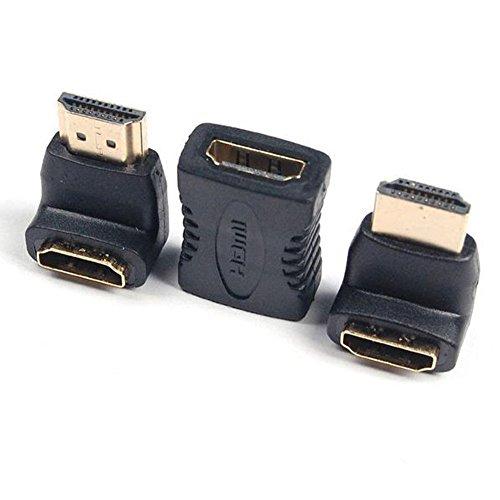 ubest HDMI Adapter Set (HDMI auf HDMI Kupplung Verlängerung/HDMI-Stecker auf HDMI-Buchse 270° Winkeladapter/HDMI-Stecker auf HDMI-Buchse 90° Winkeladapter)|VERGOLDETE Kontakte|1080p Full HD|Schwarz
