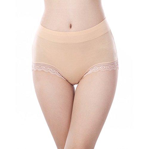 Damen Nahtlose Unterwäsche Weiche modal Baumwolle Unterhose Slips unsichtbar Damen Panties Frauen Hipster mit Spitze-M (Low Rise Höschen Hipster Baumwolle)