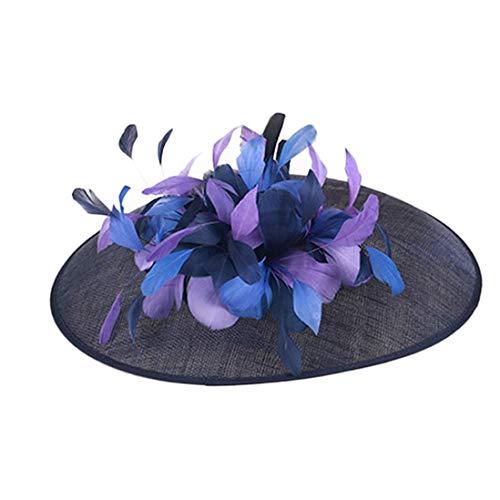 TOBEEY Frauen Fascinators Damen Sinamay große Krempe Blumen Pillbox Kopfschmuck Hochzeit Kentucky Derby Partei hat
