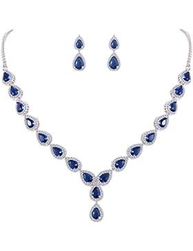 Clearine Damen Cubic Zirconia Boho Tropfen Unendlichkeit Hochzeit Y-Halskette Dangle Ohrringe Schmuck Set