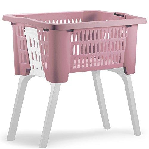 Wäschekorb mit ausklappbaren Beinen aus Kunststoff Wäschesammler Tragegriffe arbeitserleichternd 38 Liter 60x40x58cm Rosa