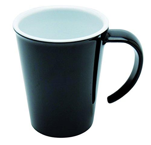 Ornamin Kaffeepott 300 ml schwarz | hochwertiger, stabiler Kaffeebecher aus Kunststoff mit Henkel | robustes Alltags-Geschirr für Zuhause, Büro, Camping, Picknick, Gemeinschaftsverpflegung, Großküchen, Institutionen  | Kaffeetasse, Mehrweg-Becher