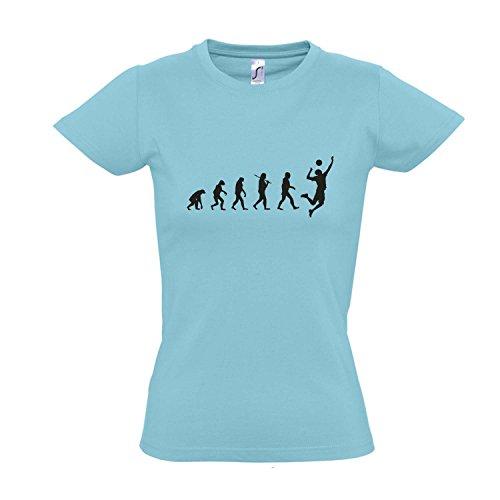 Damen T-Shirt – EVOLUTION – Volleyball Sport FUN KULT SHIRT S-XXL , Atoll blue – schwarz , M