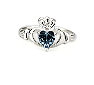 Irish Claddagh Birthstone Ring May Size 7