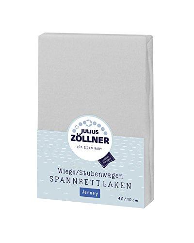 Julius Zöllner 8330147510 Jersey Spannbetttuch für Wiegen 90x40 und Stubenwagen, Farbe: hellgrau