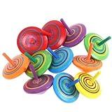 Vientiane Trottola in Legno, 12 Pezzi Mini Giroscopio in Legno Colorati Artigianali Set per Bambini Giocattolo Partito (Colore Casuale)