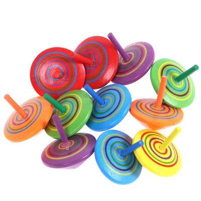 Peonza Trompo de Madera, 12 piezas Mini Colorido Giroscopios de Madera Artesanales para Juguetes de Fiesta Infantil (Color Aleatorio)