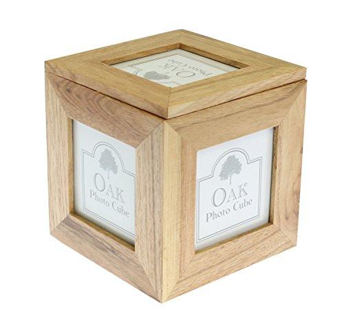 Natürliche Eiche Holz 5 Bild Foto Bild Cube / Keepsake Box - 5 Bilder von 3 x 3 Zoll (7.5 x 7.5cm)