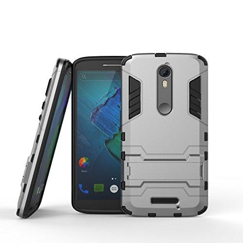 CaseFirst Motorola Moto X Force Custodia, Hybrid Cover Antiurto Combo Armor Bumper Protettiva Anti-Impronte Anti-Scivolo 2 in 1 Rigida Custodia per Motorola Moto X Force (Grigio Chiaro)