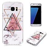 QC-EMART Hülle für Samsung Galaxy S7 Edge Soft Silikon Schutzhülle Marmor Effekt Ultra Dünn Tasche Etui Schale Bumper Kratzfest Handyhülle Weich Stoßfest Rückschale Hüllen, Rosa Dreieck