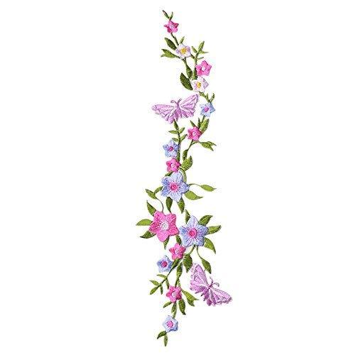 XUNHUI Schmetterlinge Blumen Applikation Kleidung Stickerei Patch Stoff Aufkleber Aufbügeln Aufnähen Patch Craft Nähen Reparatur Gestickt 1 Stück - Befestigt Und Mütze Schal Frauen Für