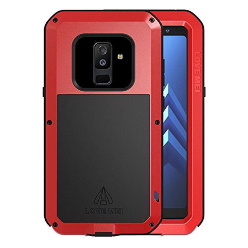 Simicoo Samsung A6 Plus 2018 Hülle Hybrid Aluminium Metall Stoßfest Schutz Bumper Militär Starkes Silikon Schraube Gorilla Glas staubdicht stoßen Heavy Duty Gehäuse Handyhülle für A6 Plus(Red)
