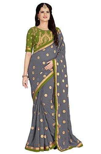 Vastrang Sarees Women's Georgette Embroidered Sarees with Embroidered Blouse Piece_5452 (Mehandi)