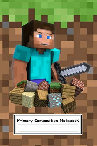 Primary Composition Notebook: Minecraft Pixel Roblox Primary Blank Wide Ruled Journal, Diary, Sketchbook For Kindergarten, Grades K-2, Gift for Teens, Students, Boys, Girls, Preschoolers