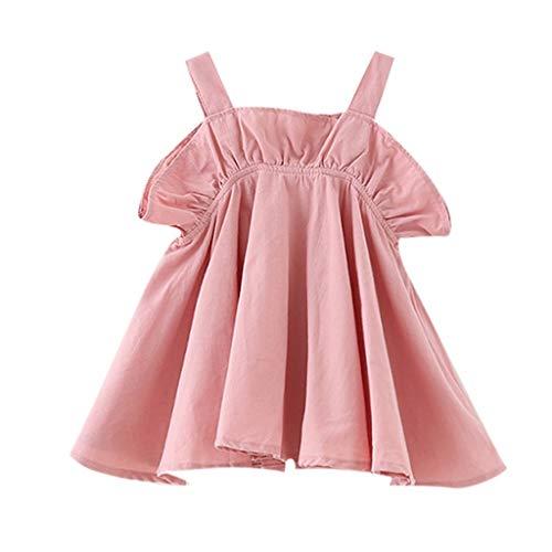 Prinzessin Kleider Baby Mädchen Dresses for Girls Pwtchenty Babydoll Kleid Sommer Damen Volltonfarbe Blume Kurze Ärmel Baumwolle Freizeitkleid ()