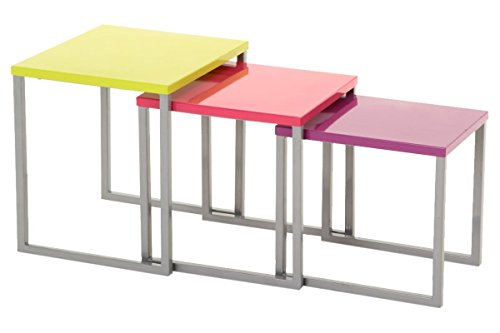 Set aus 3 Beistelltischen Couchtischen - Innen- und Außengebrauch - Farbe : BUNT