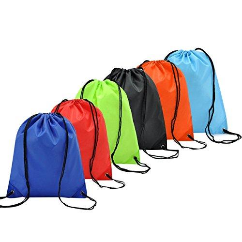 6 Pack Kordelzugbeutel Rucksack Turnbeutel Sportbeutel Coolzon® Drawstring Bags Gym Sack Beutel Tasche für Sport Turnhalle Yoga Schwimmen Strand Reise Zuhause 6 Farben (Nylon-drawstring-rucksack)