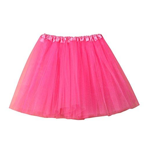 Fuibo [Damen Röcke Womens hochwertige Plissee Gaze kurzen Rock Erwachsenen Tutu Tanzen Rock (Hot Pink)