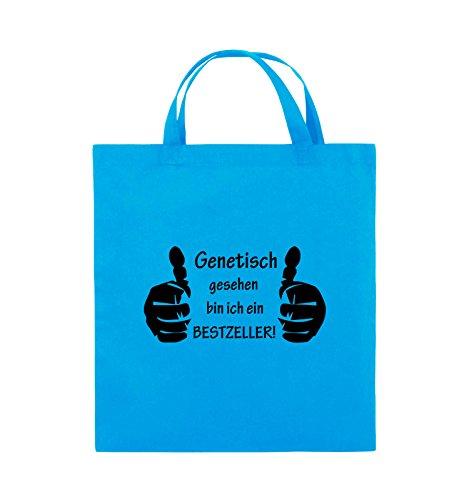 Comedy Bags - Genetisch BESTZELLER - HÄNDE - Jutebeutel - kurze Henkel - 38x42cm - Farbe: Schwarz / Silber Hellblau / Schwarz